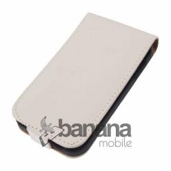 Бял кожен калъф отварящ се нагоре за HTC Desire 200