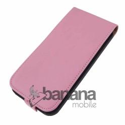 Розов кожен калъф тип флип за HTC Desire 610