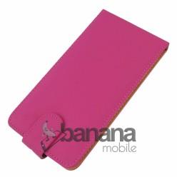 Розов кожен калъф тип флип за HTC Desire 816