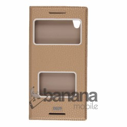 Златен кожен калъф тип тефтер с активен капак за HTC Desire 820