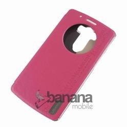 Розов кожен калъф тип тефтер с активен капак за  LG G3