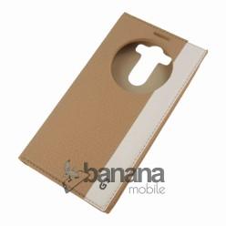 Златен кожен калъф тип тефтер с активен капак за  LG G3