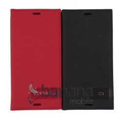 Цветен кожен калъф тип тефтер за Sony Xperia Z3