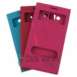 Цветен кожен калъф тип тефтер с активен капак за Samsung Galaxy E7