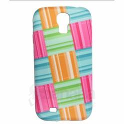 Силиконов гръб със шарен текстил за Samsung Galaxy S4